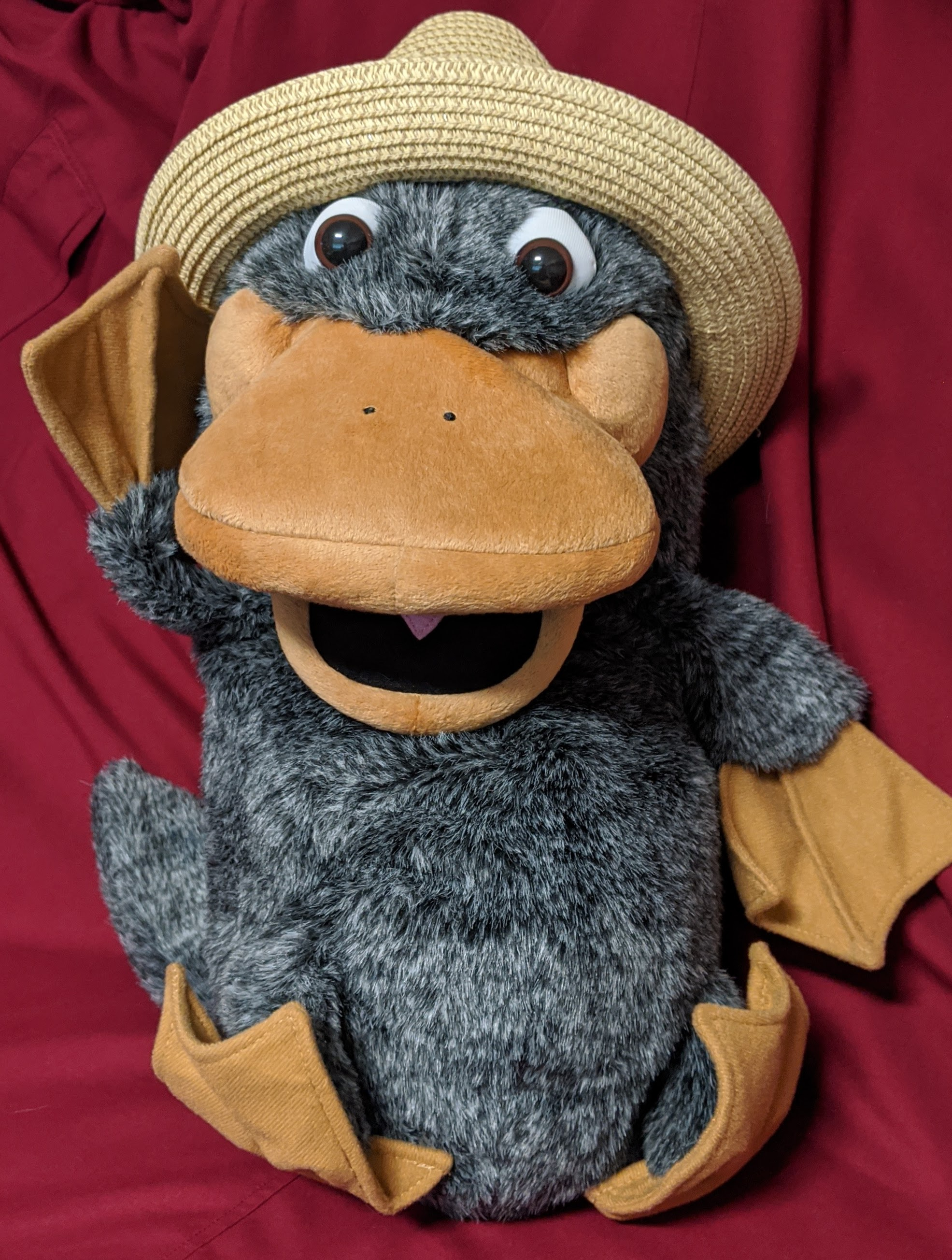 A plush platypus puppet with grey fur and beige beak and flippers. He his wearing a straw trilby hat