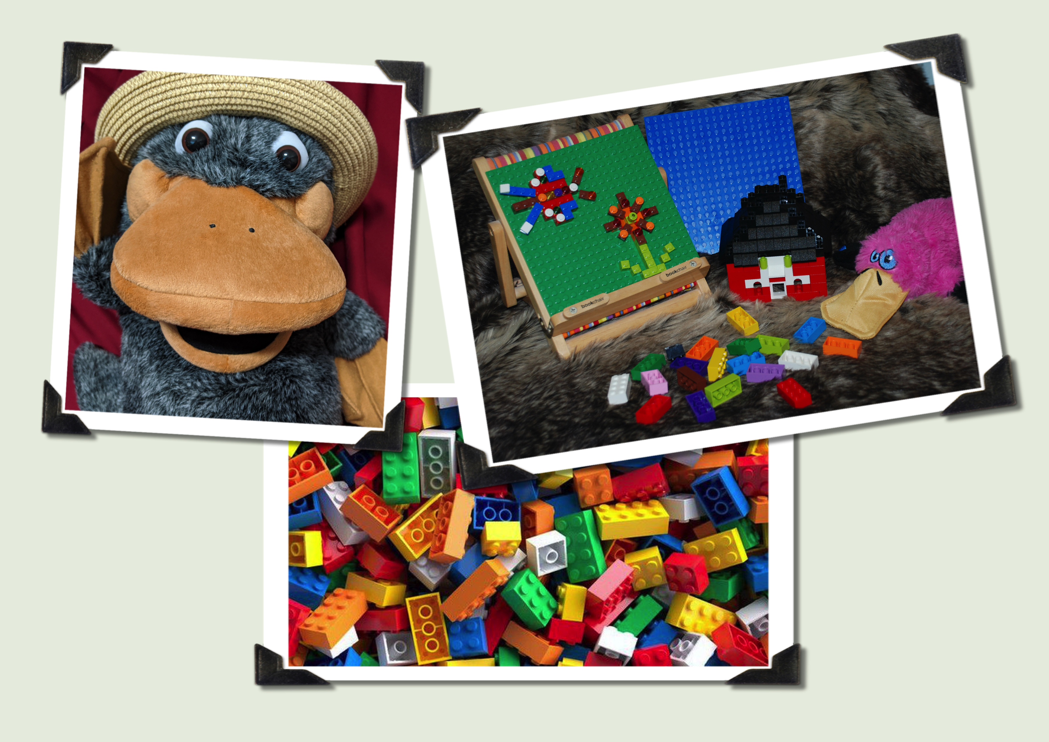 A picture with three photos in it. One is a picture of Theo the Platypus puppet, the next is an array of lego activities with Anno the pink platypus toy. At the bottom is a picture of lots of lego bricks