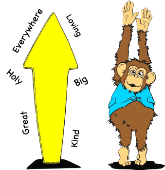 Cartoon drawings on an arrow and a chimpanzee. The Arrow is surrounded by  words that describe God: Great,Holy, everywhere, loving, Big and kind.