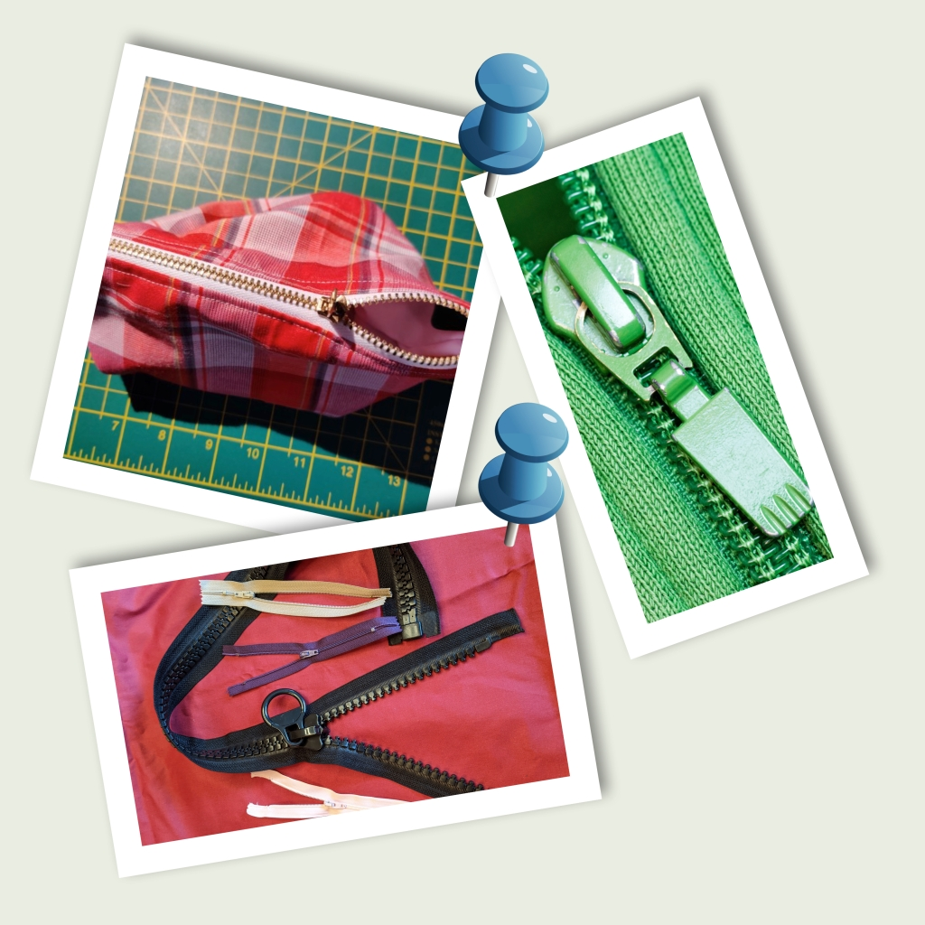 Three pictures. One is a pencil case zip, another is a zip on a hooded top, the other a collection of zips not attached to anything